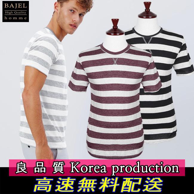 【クリックで詳細表示】送料無料[BJ365]ゆったりフィットで楽に着るシャツ/ボーダー柄Tシャツ/特大のBIGBANG紳士服G-DRAGON新着exo