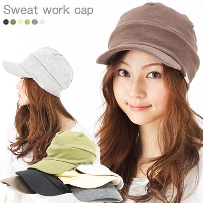カジュアルな服装にピッタリのワークキャップ ALLシーズン被れる優れもの 57-61cm メール便送料無料【商品名:スウェットワークcap】UV 紫外線対策 帽子 レディース 大きいサイズ 、帽子 メンズ 大きいサイズの画像