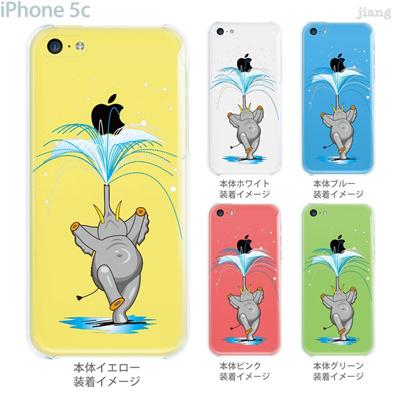 【iPhone5c】【iPhone5c ケース】【iPhone5c カバー】【ケース】【カバー】【スマホケース】【クリアケース】【クリアーアーツ】【Clear Arts】【ゾウの噴水にアップル】 01-ip5c-zec017の画像