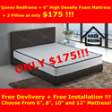 ★HOTTEST SALE★Queen Size 6 Inch Mattress + Bed Frame + 2 Free Pillow for ONLY $175!☆Bedroom☆Bed Frame☆Furniture☆Mattress☆Modern☆Designer☆Cheap☆6 8 10 12 Inch Mattresses Available. Free Delivery!