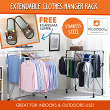 [Free Rilakkuma slipper]Korea Big hanging area foldable extendable Clothes Hanger Rack/2-tier/3-tier