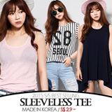 [grey u]Sleeveless Tee S$2.9~♥Made in KOREA~!]★S/S 2015 Best Selling Premium T-shirts in Korea♥free shipping/Casual Loose fit T-shirts/Basic Design T-shirts/Casual T-shirts/Sleeveless Tee