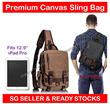 Premium Large Canvas Sling Bag - Outdoor Travel Shoulder Cross Body Messenger Backpack Bag fit iPad