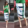 [zoozoom] Pattern pleat H-line skirt 2color / 23931