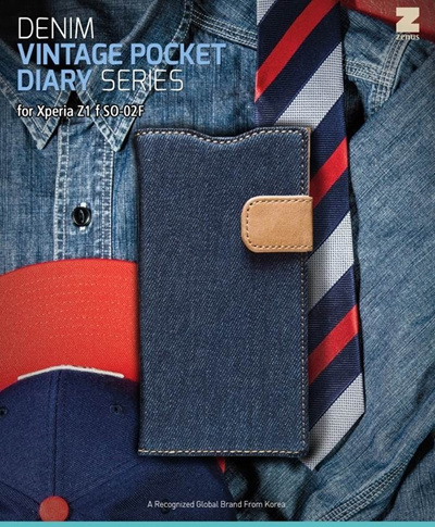 docomo 【Xperia A2/Xperia Z1f】ZENUS Denim Vintage Pocket Diary(デニムビンテージポケットダイアリー) スナップボタン デニム、イタリアン本革の画像