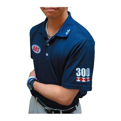 アメリカンボウリングサービス(ABS) トリコロールテープポロ AW-1409 ネイビー 【ユニセックス ボウリングウェア ボーリング 半袖シャツ】の画像