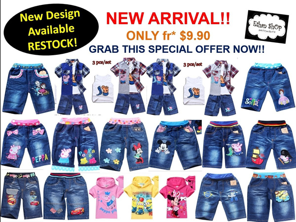 ON SALE*CUTE CARTOON SERIES*PEPPA PIG/FROZEN SOFIA/ROBOCAR POLI/MINIONS/CARS/MINNIE MOUSE/MICKEY MOUSE/SHORT JEANS/PANTS/T-SHIRT/HOODED*BOY/GIRL/TODDLER/KIDS CLOTHING*SIZE 1-7YR^.^ Deals for only S$24.9 instead of S$0