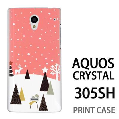 AQUOS CRYSTAL 305SH 用『1210 雪景色 ピンク』特殊印刷ケース【 aquos crystal 305sh アクオス クリスタル アクオスクリスタル softbank ケース プリント カバー スマホケース スマホカバー 】の画像