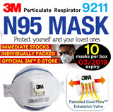 [Official E-Store] 3M™ N95 Respirator (UK) Model 9211 / Haze / NIOSH Approved / Cool Flow Exhalation Valve / PM2.5 / Particulate / Pollution / Asthma / Allergy / 10 Masks Per Box