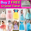 Buy 2 Free Crystal Tiara! Party Princess Costume Dresses!  Baby Toddler Girl Kid Party Dress
