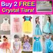 Buy 2 Free Crystal Tiara! Party Princess Costume Dresses!  Baby Toddler Girl Kid Party Dress