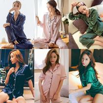 【安心国内発送】❤韓国大人気❤エミュレーションシルクパジャマ ルームウエア 2点セット 女性パジャマ レディースパジャマ 婦人ナイトウェア ルームウェア 上下セット 寝間着 静電気防止 肌にやさしい絹