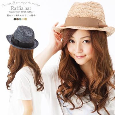 ラフィア100%使用したオシャレな中折れHAT 58cm/60cm/62cm/64cm【商品名:ラフィアHAT】UV 紫外線対策 帽子 レディース 大きいサイズ 、帽子 メンズ 大きいサイズの画像