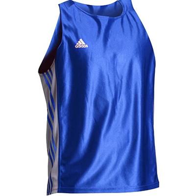 アディダス(adidas) アマチュアボクシング タンクトップ L ADITB142-BU-L ブルー L 【ボクシング ウェア ノースリーブ 格闘技】の画像