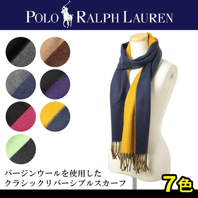POLO RALPH LAUREN ポロ ラルフ ローレンクラシック リバーシブル スカーフ 6F0205 男女兼用の画像