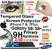 Samsung S8/S8Plus/Iphone7/7Plus/6/6S/Plus/Samsung/Sony/Xiaomi. Tempered Glass Screen protector.
