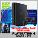★ Free [UNCHARTED 4] Game! (Worth$68) ◄ New SONY PS4 Slim ► Playstation 4 - 500GB / 1 TB Version ☆ 12 3 Months Local Warranty ☆ Free Shipping