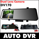 DV170 4.3LCD Dual Lens Camera Rearview Mirror Car Dvr Camera Recorder Super Wide Angle 1080P Full HD Night Vision 6000A Style
