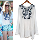 Ethnic Embroidery Natural Linen Blouse