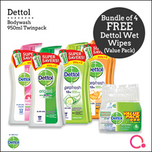 [RB]【FREE wet wipes 10s x 3】4 x Dettol Value Pack Twin Body 950ml | Direct from Singapore