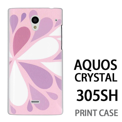 AQUOS CRYSTAL 305SH 用『1215 コミカル雪結晶 ピンク』特殊印刷ケース【 aquos crystal 305sh アクオス クリスタル アクオスクリスタル softbank ケース プリント カバー スマホケース スマホカバー 】の画像