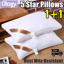 [Bundle of 2] Luxury 5 Star Hotel Pillow Soft Plush Cotton Dust Mite Resistant Polyester PP Sleeping