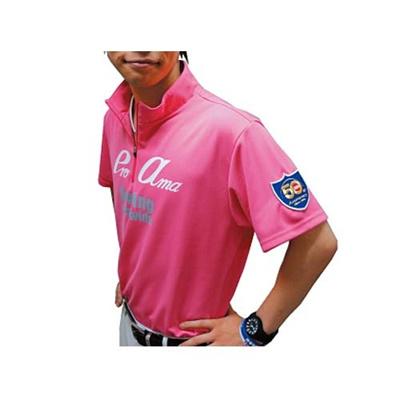 アメリカンボウリングサービス(ABS) プリントジップアップハイネックポロ AW-1411 ピンク 【ユニセックス ボウリングウェア ボーリング 半袖シャツ】の画像