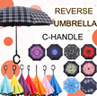 ★REVERSE UMBRELLA★C-HANDLE★SELF STAND★ Quality Double Layer Innovative Convenient Handy Inverted