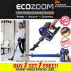 ECOZOOM High Speed Cordless Vacuum ★★German Tech.★★ 3 Mth warranty. Wireless/Power Suction/Detachable Lithium Battery/For car and household/Available at car retail shop/ www.mobot.sg