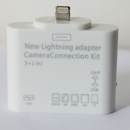 iPad mini/iPad4 iOS6.0専用Lightning to SD/MicroSD/MMC/MS/M2/USB カメラコネクションキット 5in1