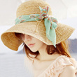 ●MAOMAO● Floral Chiffon ribbon Travel Beach Sun Hat Big Large brimmed Straw hat UV PROTECTION Fashion Hat Cap Topi Topee Foldable Hat Foldaway Hat