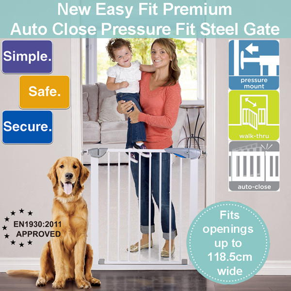 [Infantods] M2 New Easy Fit Steel premium safety gate for baby kid children dog Pet. No drilling. Deals for only S$79 instead of S$0