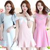 23/5 Korea fashion S-3XL  Little girl Short sleeve dresses/chiffon/lace/Organza/Slotted Shoulder