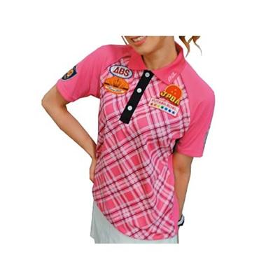 アメリカンボウリングサービス(ABS) 前身チェックラグランポロ AW-1412 ピンク 【ユニセックス ボウリングウェア ボーリング 半袖シャツ】の画像