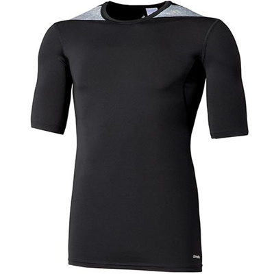 アディダス(adidas) メンズ テックフィット BASE 半袖Tシャツ ブラック/ミディアムグレイヘザー AJ450 D82011 【半袖シャツ ショートスリーブシャツ スポーツウェア トレーニング ジム】の画像