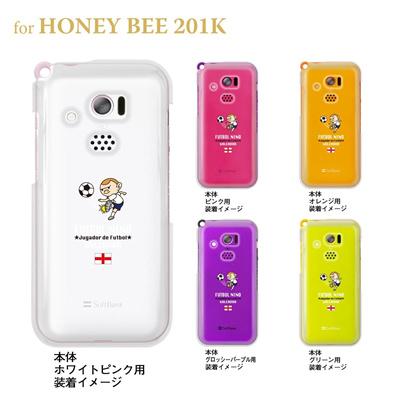 【HONEY BEE ケース】【201K】【Soft Bank】【カバー】【スマホケース】【クリアケース】【サッカー】【イングランド】 10-201k-fca-eg01の画像
