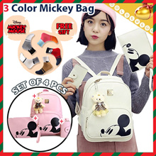 ♥Free Gift Mickey Socks♥  Set of 4pcs ♥ 3Color Mickey Bags ♥ Backpack+Clutch Bag+Card Wallet+Bear Keyring / Free Shipping