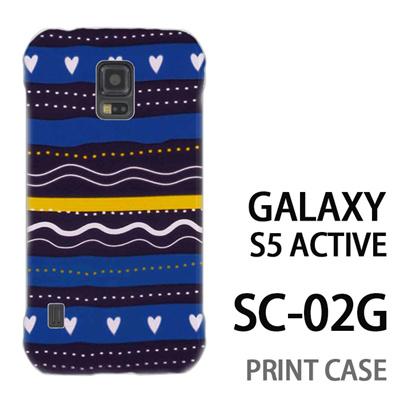 GALAXY S5 Active SC-02G 用『1220 ハートストライプ 水』特殊印刷ケース【 galaxy s5 active SC-02G sc02g SC02G galaxys5 ギャラクシー ギャラクシーs5 アクティブ docomo ケース プリント カバー スマホケース スマホカバー】の画像