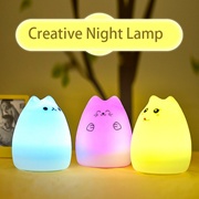 Creative Cute Cat LED Children Kids Baby Night Light Lamp Multicolor Silicone Soft Nursery Sensitive Tap Control Bedside Lamp Christmas gift