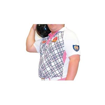 アメリカンボウリングサービス(ABS) 前身チェックラグランポロ AW-1412 ホワイト 【ユニセックス ボウリングウェア ボーリング 半袖シャツ】の画像