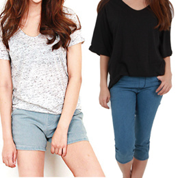 Ezen style/Belted cuff short/casual pants/office/plus size/half/Women Casual