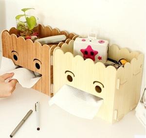 可爱的笑脸纸巾盒抽纸盒时尚创意diy木质桌面收纳盒