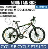 [Cycle Bicycle]{URATA MOUNTAIN BIKE/DUAL DISC BRAKE} Full SHIMANO Gears/Single Speed/Trendy Fixie/Road Bike Frame/Mountain Bike/Fitness/Bicycle/100% Assembled/700c Slim Tire/Latest Design/26 inch