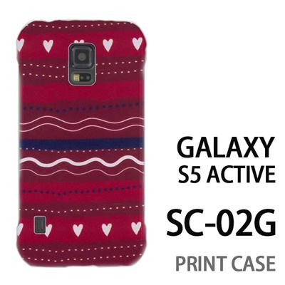 GALAXY S5 Active SC-02G 用『1220 ハートストライプ 赤』特殊印刷ケース【 galaxy s5 active SC-02G sc02g SC02G galaxys5 ギャラクシー ギャラクシーs5 アクティブ docomo ケース プリント カバー スマホケース スマホカバー】の画像