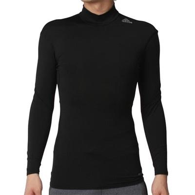 アディダス(adidas) メンズ テックフィット BASE CW モックネック長袖 ブラック/ブラック AJ454 D82112 【長袖シャツ スポーツウェア トレーニング ジム】の画像