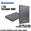 LENOVO 1TB External HDD / Built-In USB 3.0 Cable / No Software Installation Needed