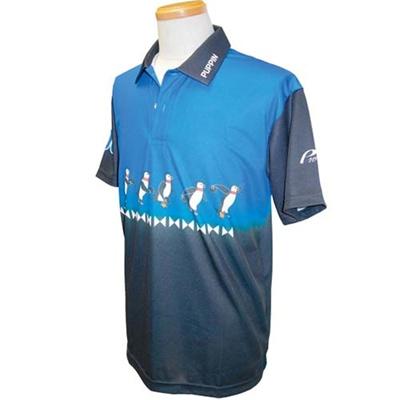 アメリカンボウリングサービス(ABS) スイングパピンポロ AW-1413 ブルー/ブラック 【ユニセックス ボウリングウェア ボーリング 半袖シャツ】の画像