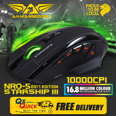Online Exclusive Armaggeddon Starship III - Macro-Able™ Gaming Mouse Up to 10K CPI | 9 Buttons + 2 Way Scroll Clicking | High Quality OMRON Switches. Free Delivery! Local 24 Months Warranty!