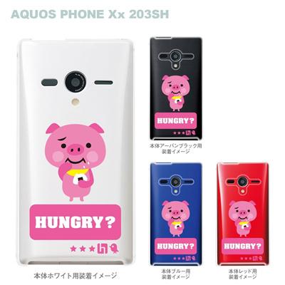 【TORRY DESIGN】【AQUOS PHONE Xx 203SH】【Soft Bank】【ケース】【カバー】【スマホケース】【クリアケース】【アニマル】【ぶた】【おにぎり】【ハングリー】 27-203sh-tr0022の画像