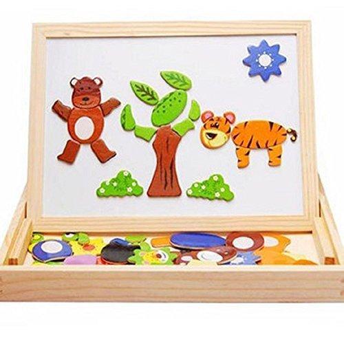 子供 用 木 の おもちゃ 黒板 ホワイトボード 両面 おえかき セット 動物 の マグネット 付き